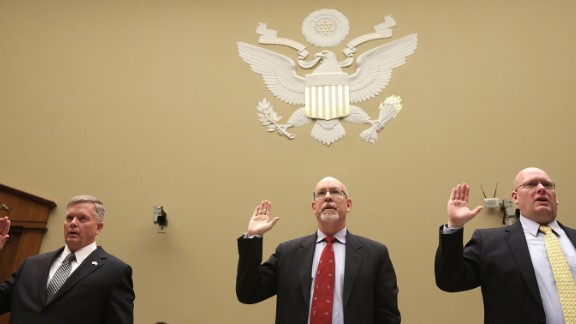 From left, Acting Deputy Assistant Secretary of State for Counterterrorism Mark Thompson; Hicks; and Eric Nordstrom, a diplomatic security officer and former regional security officer in Libya, are sworn in before the hearing. The three are testifying at the hearing investigating into whether the State Department misled the public about the assault.