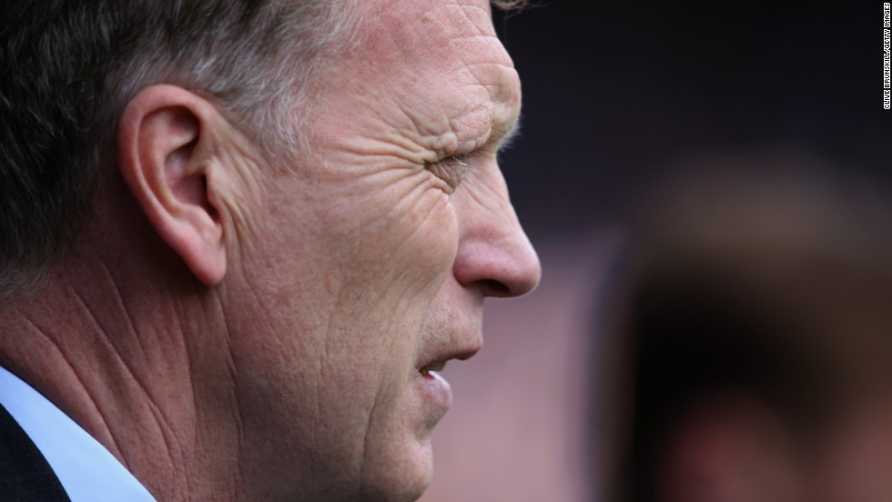 Moyes is pictured prior to kick off during the English Premier League match between Everton and Fulham at Goodison Park last month. Moyes is leaving Everton at the end of the season after he told the Merseyside club's chairman Bill Kenwright of his desire to join United and succeed Ferguson.<br />