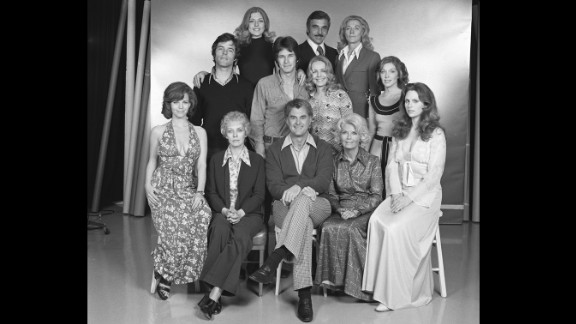 """Cooper, at right top, poses with the cast of """"The Young and the Restless"""" in 1974"""