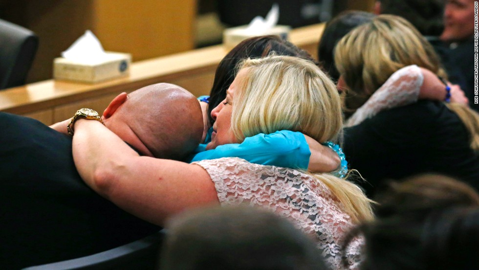 Alexander's family and friends react after Arias was found guilty of first-degree murder on May 8.
