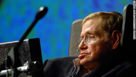 British astrophysicist Stephen Hawking delivers a lecture on May 11, 2008, on the outskirts of Cape Town.