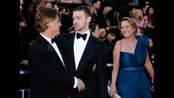 Justin Timberlake's mother, Lynn Harless. Writer Aaron Sorkin is at left.