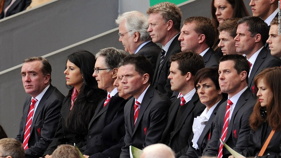 Other notable attendants of the Hillsborough memorial service were: (from back row, left to right) Everton chairman Bill Kenwright, Moyes, Liverpool manager Brendan Rogers, Liverpool players Steven Gerrard, Jamie Carragher, Jordan Henderson, Liverpool managing director Ian Ayre, Linda Pizzuti and her husband -- Liverpool's principal owner John W Henry -- and club chairman Tom Werner.