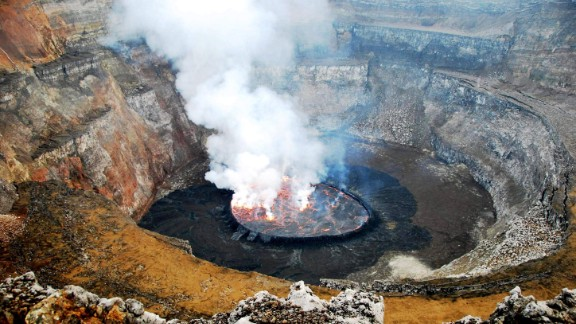 The Virunga National Park is home to the world's largest lava lake, a 250-meter wide cauldron of steam and smoke.