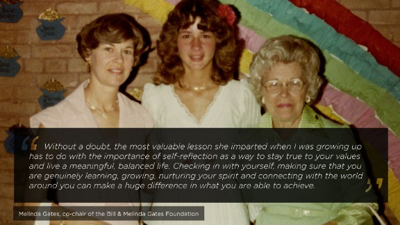 Melinda Gates is a distinguished American businesswoman who is well-known for her philanthropic efforts as the co-chair of the Bill and Melinda Gates Foundation. She is pictured here with her mother and grandmother in 1978.