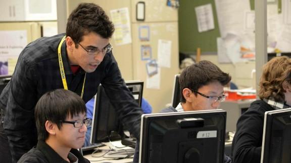 Robert El-Soudani teaches an advanced computer-science TEALS course at Hazen High School in Renton, Washington.
