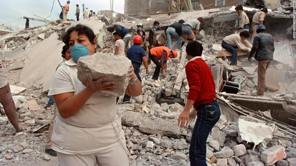 "Three infants are pulled alive from the crumbled Benito Juarez Hospital seven days after a powerful earthquake hit the Mexican capital on September 19, 1985. With more than 10,000 people killed, the newborns became known as the ""<a href=""http://www.globalpost.com/dispatch/mexico/100201/miracle-babies-1985-earthquake"" target=""_blank"">miracle babies</a>"" of Mexico City."