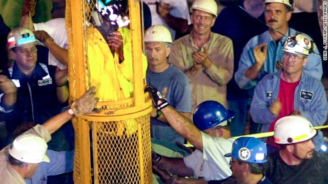 Miner Mark Popernack is rescued from the Quecreek Mine in the early morning of July 28, 2002 in Somerset, Pennsylvania. All nine miners were successfully rescued after being trapped in a flooded mine shaft since July 24, 2002 which was located approximately 240 feet underground.