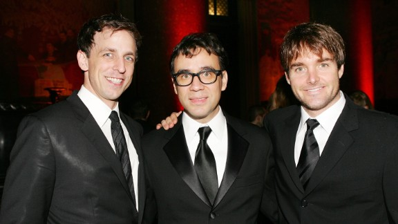 """Saturday Night Live"" cast members Meyers, from left, Fred Armisen and Will Forte attend the American Museum of Natural History"
