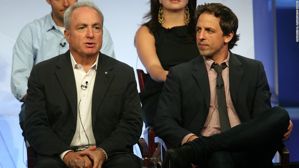 """Saturday Night Live"" Executive Producer Lorne Michaels, left, and Meyers speak on a press tour in Beverly Hills, California, on July 20, 2008. Michaels will remain the executive producer of ""Late Night."""
