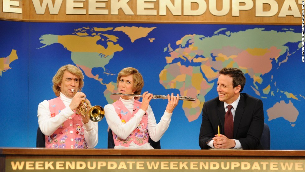 "Fred Armisen, from left, Kirsten Wiig and Meyers perform during a skit on ""Saturday Night Live"" on May 11, 2013."