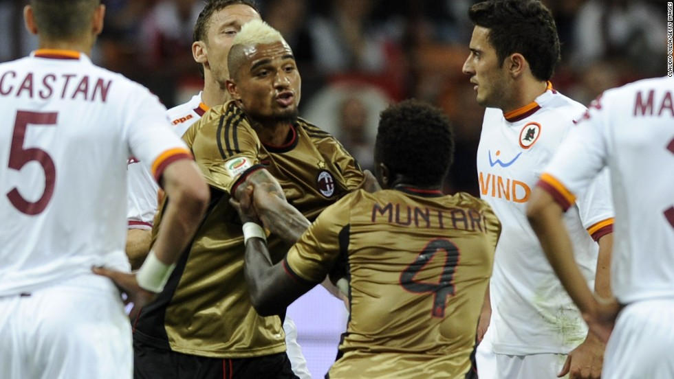 In the first half, Milan's Sulley Muntari had to be restrained by teammate Kevin-Prince Boateng after being red-carded against Roma, having bizarrely tried to pin down the arms of the referee as he tried to take out his cards.