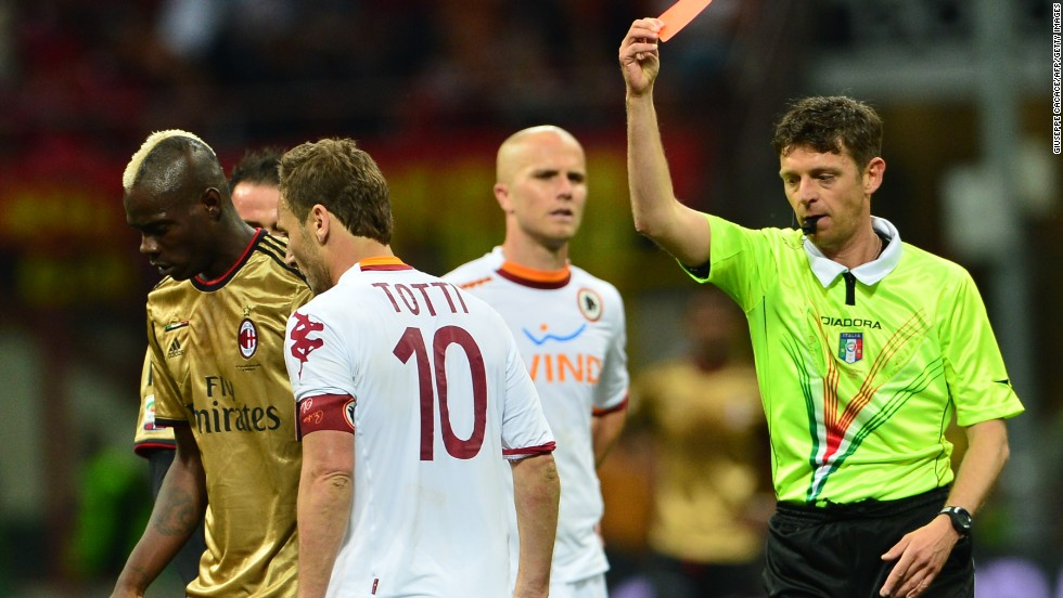 Roma's veteran captain Francesco Totti was also sent off late in the match, which ended 0-0, after lashing out with his elbow at a Milan opponent.
