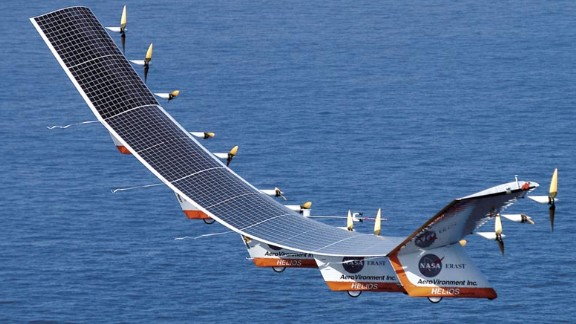 NASA's Helios was a prototype high-altitude, long-duration unmanned solar-powered aerial vehicle. In 2001, Helios reached an altitude of 96,863 feet, breaking an official world record altitude for a non-rocket-powered aircraft. In 2003, Helios broke apart in flight during heavy turbulence.