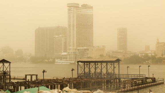 A sandstorm sweeps through Cairo, Egypt, on Monday, May 13.