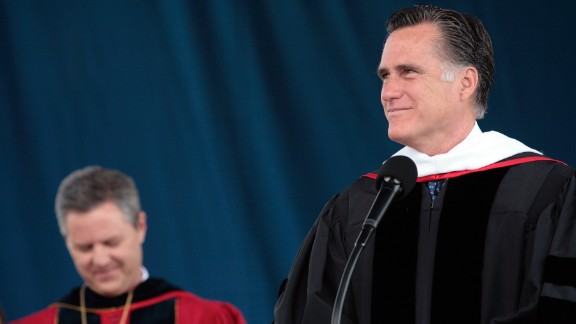 Former Massachusetts Gov. Mitt Romney delivered the commencement address at Southern Virginia University in Buena Vista, Virginia, in April. The school