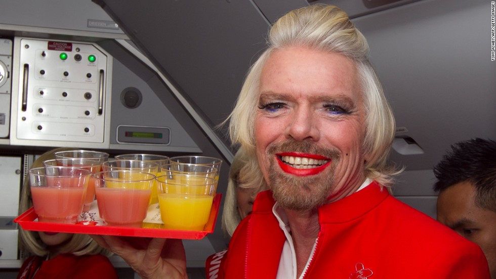 richard branson does drag after losing bet cnn travel