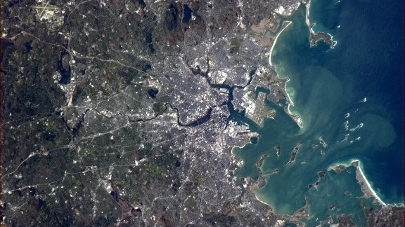 """One can also get some stunning views of space from the space station, as seen in many of Hadfield's photos. He tweeted a stunning image of Boston on May 12. """"Hope your Bruins play a memorable game tonight vs. the Leafs,"""" Hadfield said to Boston's hockey fans."""