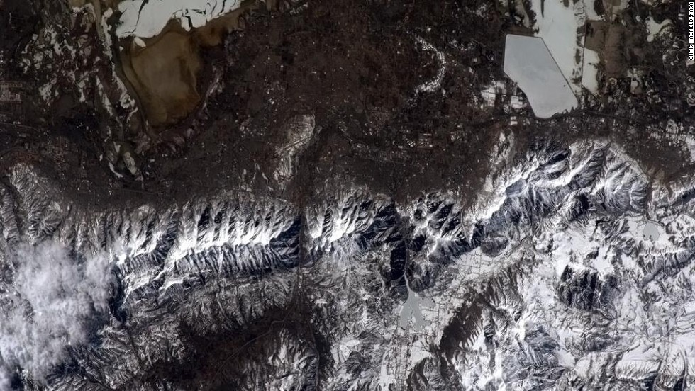 "This photo was taken over a <a href=""https://twitter.com/Cmdr_Hadfield/status/333626316509286400"" target=""_blank"">snowy Utah</a>. ""Next year, I'll get some skiing in,"" Hadfield quipped."