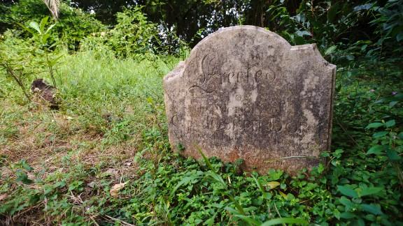 A gravestone of a ship's captain in the island's European graveyard.