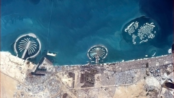 """""""Some of the things we build for ourselves are puzzlingly visible from space,"""" wrote Hadfield, referring to manmade islands in Dubai as seen on March 20."""