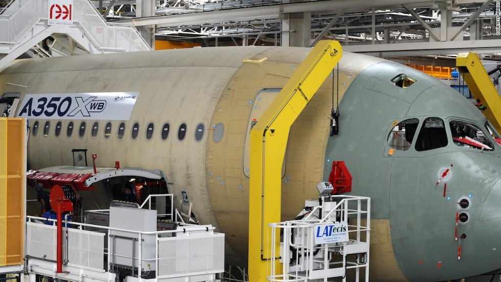 The nose section of the A350 XWB is made with 5% titanium.