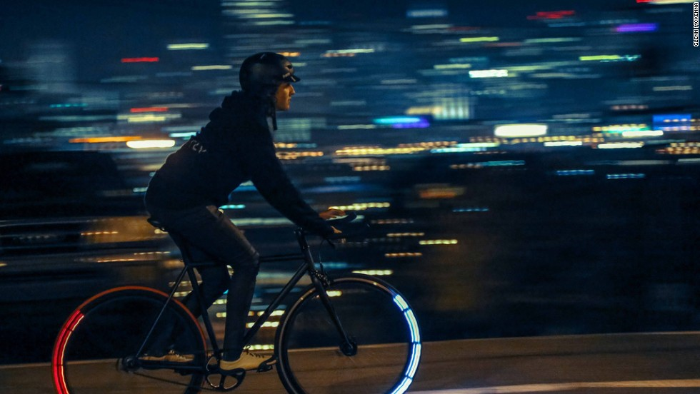 Only the forward facing lights (or backward on the rear wheel) illuminate when the wheel is spinning, creating beautiful arcs of light that make the rider visible from all angles.