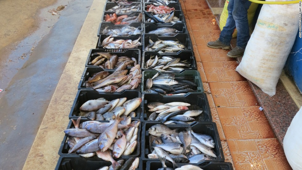 A selection of of fresh fish at the restaurant Barakoda on the Tripoli Coast. The establishment does not have a paper menu; patrons select from the daily catch, and meals are cooked to order.