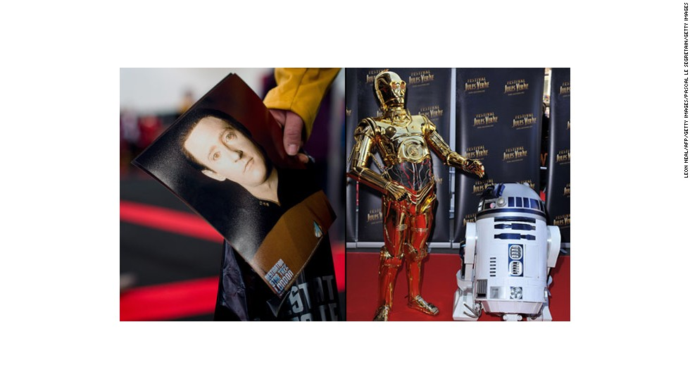 "There will be robots. The sentient android known as Data has superhuman capabilities, but still longs to be human in ""Star Trek: The Next Generation."" A golden protocol droid named C3PO is fluent in many languages and aims to help humans in ""Star Wars."" His buddy is droid R2-D2. Photos: A fan's photo of Data (left) and C3PO posing with R2-D2."