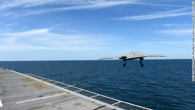 An X-47B Unmanned Combat Air System demonstrator launches from the flight deck of the aircraft carrier USS George H.W. Bush. George H.W. Bush is the first aircraft carrier to successfully catapult launch an unmanned aircraft from its flight deck.