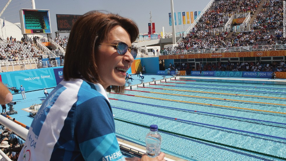 Gianna Angelopoulos at the Athens 2004 swimming venue in her volunteers' uniform