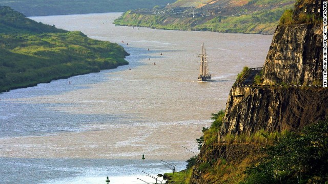 French exploration and scientific schooner 'La Boudeuse' sails in Corte Culebra in the Panama Canal.