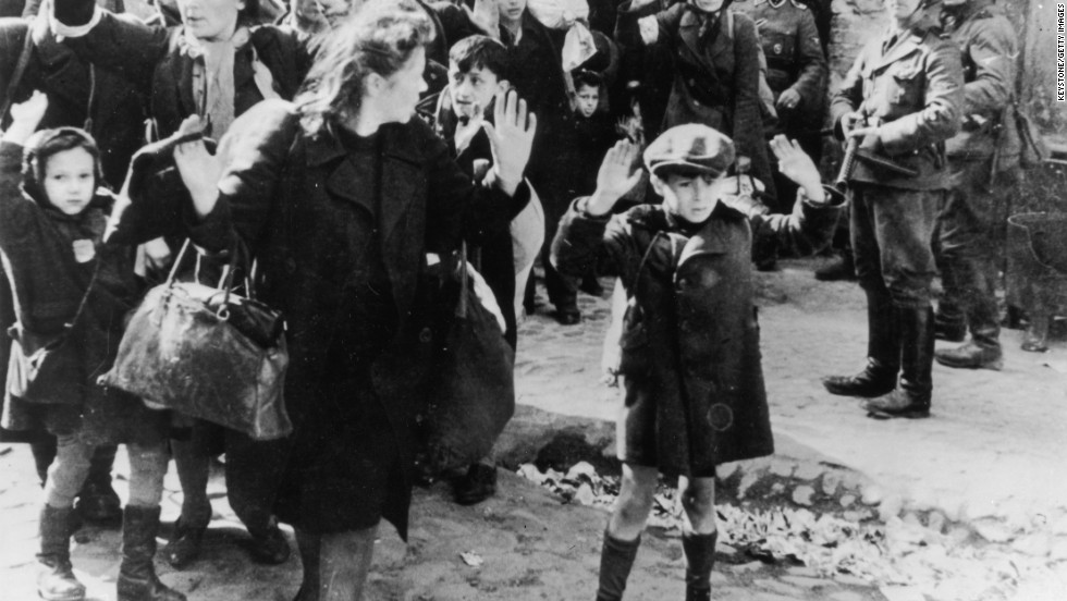 By 1942, the Nazis were deporting masses of people to the Treblinka extermination camp to the east of Warsaw, the Polish capital. In this picture, dated from 1943, people from the Warsaw ghetto surrender to German soldiers.