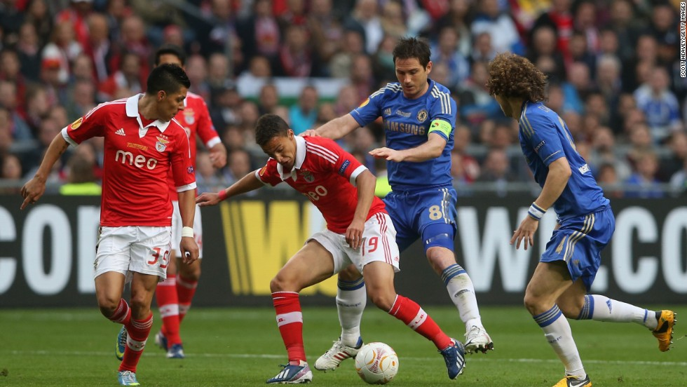 Frank Lampard and David Luiz watch on Rodrigo wins control of the ball for Benfica. The Portuguese side dominated the opening half but failed to find a breakthrough.