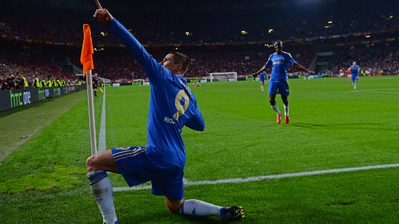 Fernando Torres does his best impression of Usain Bolt after giving Chelsea the lead.