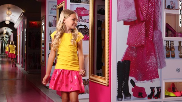 Barbie's pink digs display her extensive wardrobe and shopping addiction.