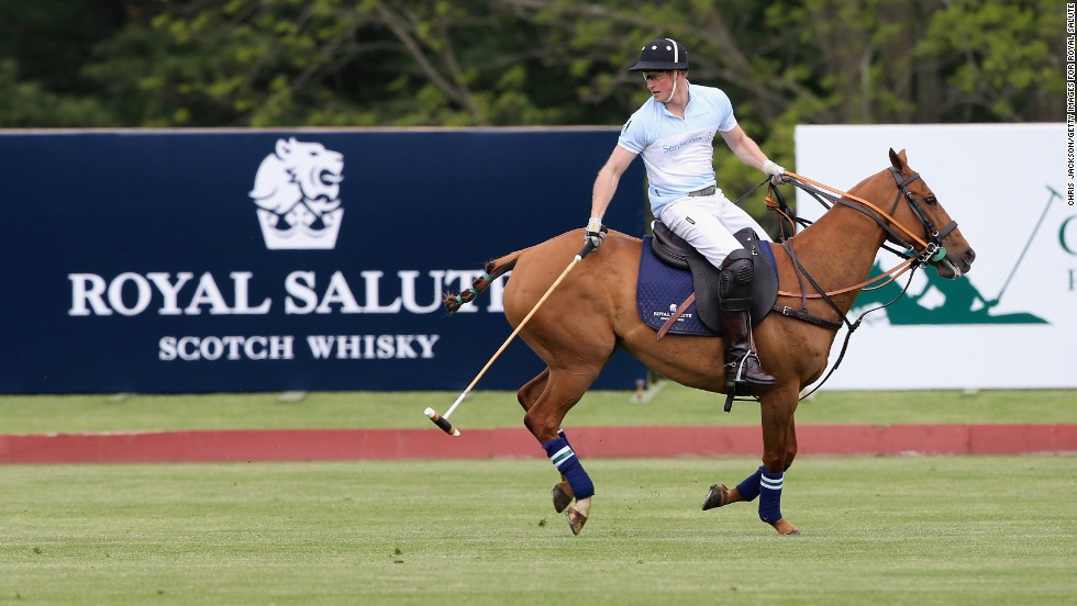 Britain's Prince Harry competes at the Greenwich Polo Club in Greenwich, Connecticut, on Wednesday, May 15, the sixth day of his visit to the United States.