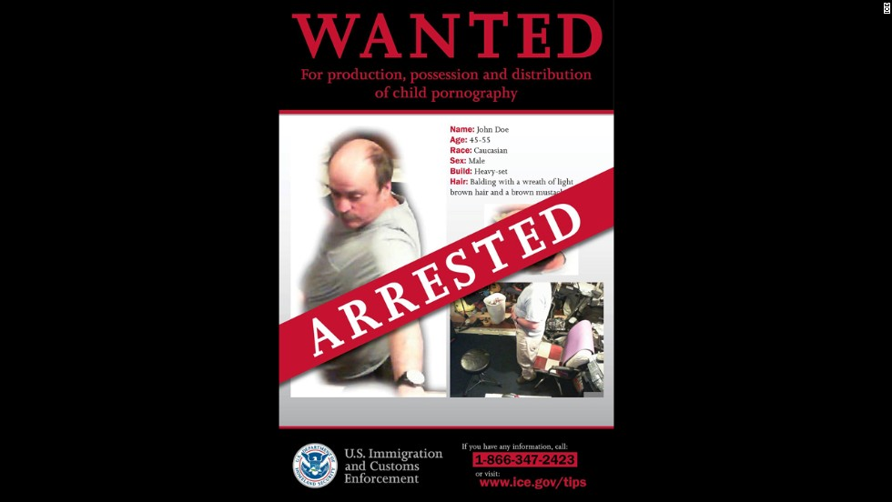 "Thanks to a tip from the public, the ""John Doe"" suspected child molester was arrested on Tuesday, May 15, less than 24 hours after photos of the suspect were released. Immigration and Customs Enforcement released edited stills from a child pornography video and appealed to the public for help."