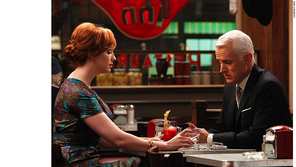 "The affair between Joan Harris (Christina Hendricks) and Roger Sterling (John Slattery) eventually results in the birth of a son on ""Mad Men."""