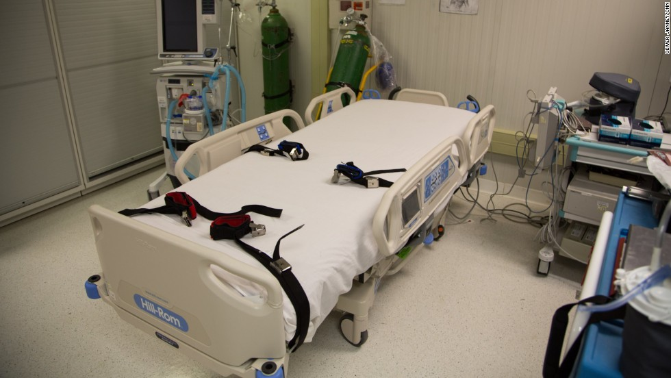 Restraints are used in an operating room at the medical facility.