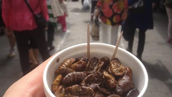Boiled silkworm in South Korea.