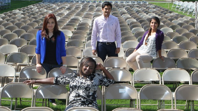 Fatima Bostan-Ali, from left, Mireille Kibibi, Naing Oo and Lima Naseri graduated from Berry on Saturday.