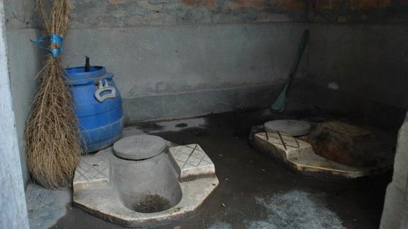 The urine and feces are stored in separate areas of the toilet. The urine is used after about two weeks, but the feces, which are turned into manure, are used every six months.
