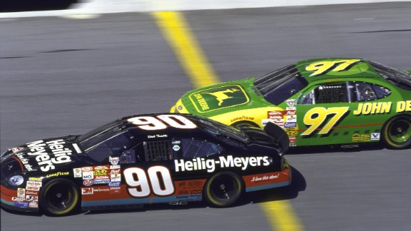 Dick Trickle, left, edges past Chad Little during a race at the Daytona International Speedway in February 1998.