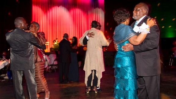 """The music included songs by Aretha Franklin, Etta James, The Temptations, just what you would expect at a 1960s prom.  But the song that drew the most bodies to the dance floor was """"The Wobble,""""  a hip-hop number with an accompanying line dance."""