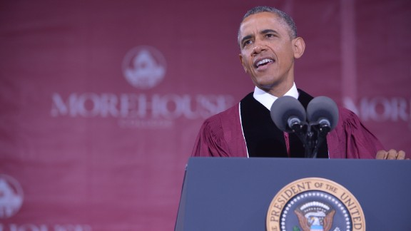 President Barack Obama delivers the commencement address during a ceremony at Morehouse College on Sunday, May 19, in Atlanta, Georgia. Morehouse is a historically black college that has Martin Luther King Jr. and other prominent African-Americans on its list of alumni.