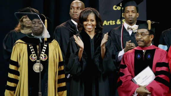First lady Michelle Obama delivered the commencement address at Bowie State University in College Park, Maryland, on May 17. She delivered the commencement addresses at Eastern Kentucky University on May 11 and is also set to talk at the Martin Luther King Academic Magnet High School for Health Sciences and Engineering in Nashville on May 18.