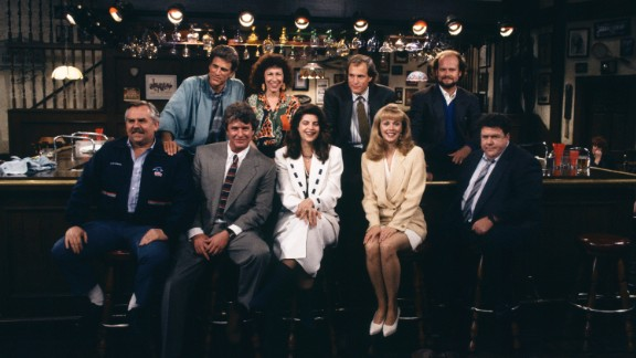 "Having the characters just hang out at the ""Cheers"" bar for one last scene (after Sam nearly left them all for Diane) seemed a very appropriate way for ""Cheers"" to say goodbye. And when a customer knocked on the door, Sam Malone -- in the darkened bar -- said, ""Sorry, we"