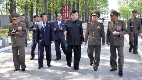 Kim inspects a military factory in this undated picture released by the KCNA in May 2013.