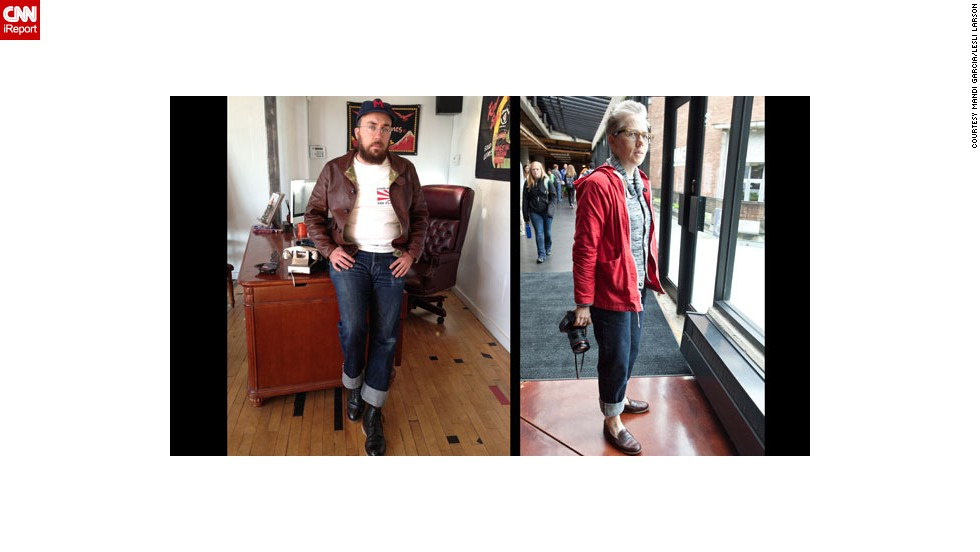 "Recent years have seen a revival of appreciation for untreated denim common in the days of Jacob Davis and Levi Strauss. Today, however, purists like Tyler Madden, left, and <a href=""https://twitter.com/archcloth"" target=""_blank"">Lesli Larson</a> (who both work in the apparel industry), favor raw denim from Japan, including their beloved <a href=""http://www.selfedge.com/shop/index.php?main_page=index&cPath=65"" target=""_blank"">1947 Sugar Cane denim</a>. ""They are simple, unadorned, and fill the role of classic blue jean better than any other pants that can be bought today,"" said Madden. Larson added, ""I feel like I could toss out the rest of my wardrobe and live in these pants for the next decade. """